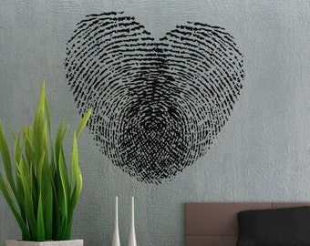 Fingerprint Heart - uBer Decals Wall Decal Vinyl Decor Art Sticker Removable Mural Modern A288