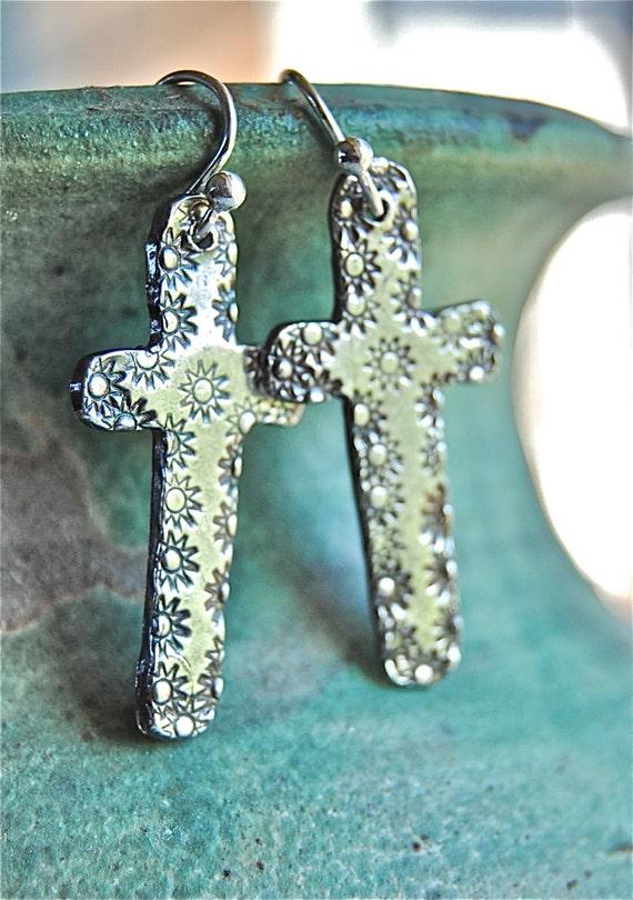 cross earrings western hippie pmc silver