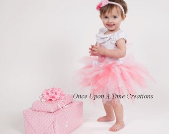 Coral Pink and White Pixie Tutu - Newborn 3 6 9 12 18 Months 2T 3T 4T 5 6 7 8 10 12 Adult ...Birthday Skirt , Photo Prop, Halloween Costume