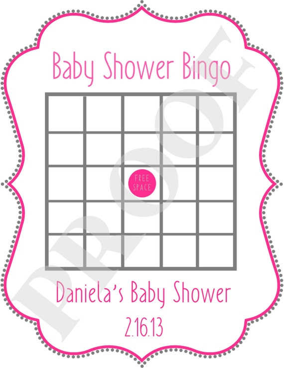Baby Shower Bingo printable file JPEG by PoshPapetiere on Etsy