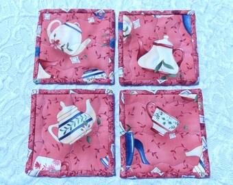 Coasters - Mini Quilts- Teapot - Set of 4