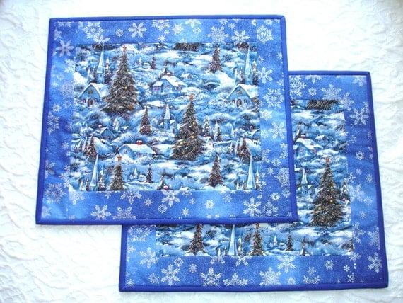 Christmas Place Mats Quilts - Winter - Blue - Village - Set of 2