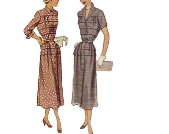 40s Day Dress McCall's 7974 Sewing Pattern Tiered Pleated Slim Skirt WWI Fashion Button Front Fitted Bodice V Neck Notched Collar Bust 32