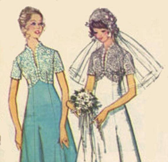 70s Simplicity Sewing Pattern Vintage Retro Wedding Dress Bridemaids Gown Princess Cut Long Short Sleeves High Neck Train  Uncut FF Bust 34
