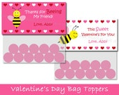 Valentine Treat Bag Toppers - Printable DIY Valentines Day Party Favors - Bumble Bee - Pink Red Yellow