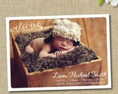 birth announcement. custom photo card. photo baby announcement. welcome