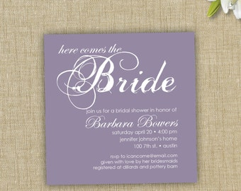 Bridal Shower Invitation. Here comes the bride invitation