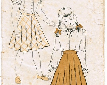 New York 306 Vintage 40s  Little Girls' Ruffled Sleeve Blouse and Twirly Circular Skirt Sewing Pattern Size 6