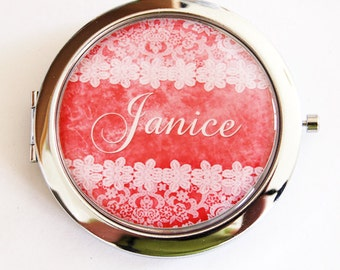 Custom compact mirror, personalized, compact mirror, bridesmaids gift, Mothers day gift, custom gift, red, lace, purse mirror  (2183)