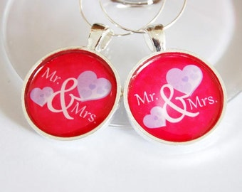 Mr Mrs Wine Charms, Wine Charms, Wedding Wine Charms, pink, purple, Wedding Shower, Bridal Shower, table setting, silver plate (2287)