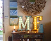SALE LARGE Wood Letter Lighted Marquee Sign...........  A B C D E F G H I J K L M N O P Q R S T U V W X Y Z