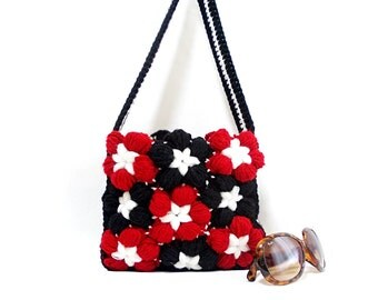 Crochet mini handbag, Squared, Ipad bag ,Galaxy tab bag, Black Red White, Flower crochet handbag, Crochet tote bag, Tablet bag