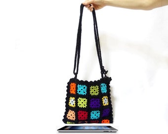 ON SALE, Crochet Bag, Messenger bag, Ipad bag, Handmade, Gypsy style, Tablet, Granny square bag, Teenage Bag, Girl Bag