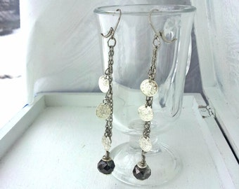 Gypsy Coin Earrings, Silver Coins with Gray Crystal, Long Earrings, boho jewelry, Leverback Style, Gifts for Women