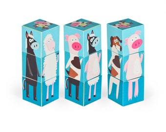 Farm Animals Blocks - Blue - PRINTABLE PDF Toy - DIY Craft Kit Paper Toy - 3 paper blocks - Heads, Arms and Legs  - Birthday Party Favor
