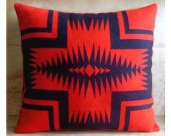 Wool Pillow - Red Arrow Native Geometric Tribal