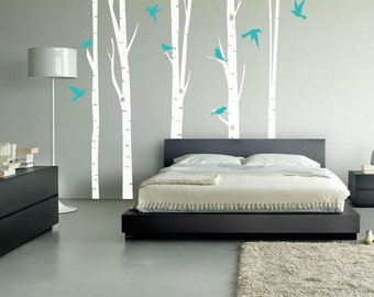 Birch Trees, Wall Decal, Large Birch Forest, 8 Birds, Bedroom Decals, Nursery Decor, Office Wall Decor, Living Room Wall Decals, ID701