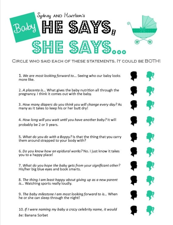 to he says she says unique printable baby shower game on etsy