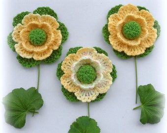 Crochet Applique - Crochet Flowers Corsage Brooches - Pack of 3 Spring Flowers