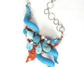 Fiber Art, Textile Art, Turquoise Necklace, Statement Necklace, Funky Jewelry, Bib Necklace, Free Shipping