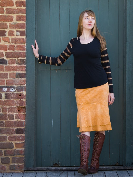 Double Flounce Skirt, Handmade Organic Cotton Jersey Ruffle Skirt, Eco Friendly Clothing