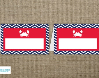 Crab Birthday - Crab BLANK Party Labels - buffet cards - place cards - Chevron - Crab Printbale - Nautical Birthday - Beach Birthday