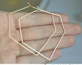 Unique Diamond Shaped Earrings - Geometric Gold Hoop Earrings - Modern Jewelry - Elegant, Lightweight, Modern Hoops - Fashion Jewelry