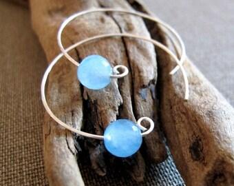 Aquamarine Bead Hoop Earrings - Sterling Silver Hoops with Gems - Modern Jewelry - Pisces, Scorpio birthstone - Blue Bead Earrings