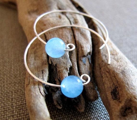 Aquamarine Bead Hoop Earrings - Sterling Silver Hoops with Gems - Modern Jewelry - Pisces, Scorpio birthstone
