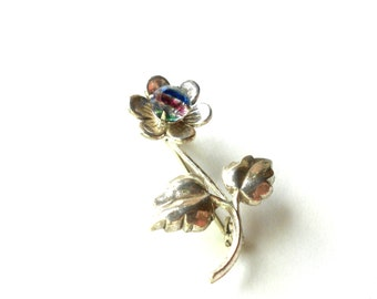 Art Deco Sterling Brooch, Rainbow Iris Crystal, 925 Vintage Flower Brooch