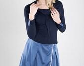 "Sale Shirt ""Evelyn"" longsleeve, blau,Satin,T-Shirt"