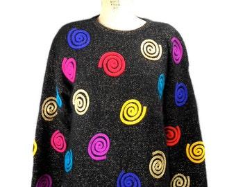 vintage 1980s swirl sweater / Rafaella / angora blend / novelty sweater / ugly sweater / women's vintage sweater / size medium