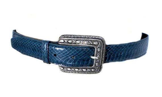 S A L E vintage 1980s blue snakeskin belt / waist cinch / reptile / silver buckle / deadstock nos / vintage belt / size small