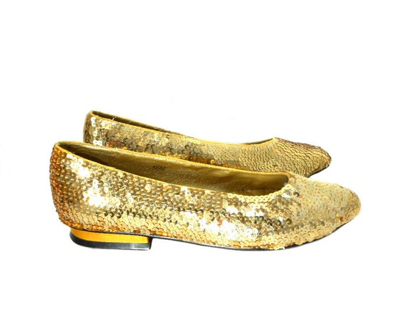1980s Ann Marino Gold Sequin Shoes / Metallic Sequined / Pointed Toe Flats / Slide On / Wedding / Womens Vintage Shoes / Size 7.5