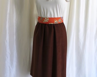 Vintage 70s dress brown cream bow tie short sleeve Summer office day dress size S M