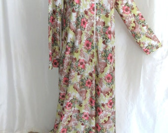 Womens 70s vintage robe, lingerie, dressy lounging hostess gown, zip up pink green floral, plus size L XL XXL by Elaine Sklar