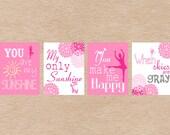Nursery Art DIY Printable- Ballerina Dance You Are My Sunshine Wall Art- Pink