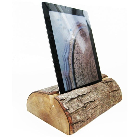 Tablet Stand Heavy Half Log Ipad Holder Fallen Salvaged Wood