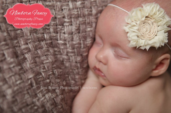Promotional Piece, Sale, Read details, Headband, Baby Girl, Newborn, Toddler, Flower, Ivory, Photography Props