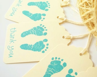 10 Baby Footprints Gift Tags -Baby Shower Favors- Vintage- Boy, Blue