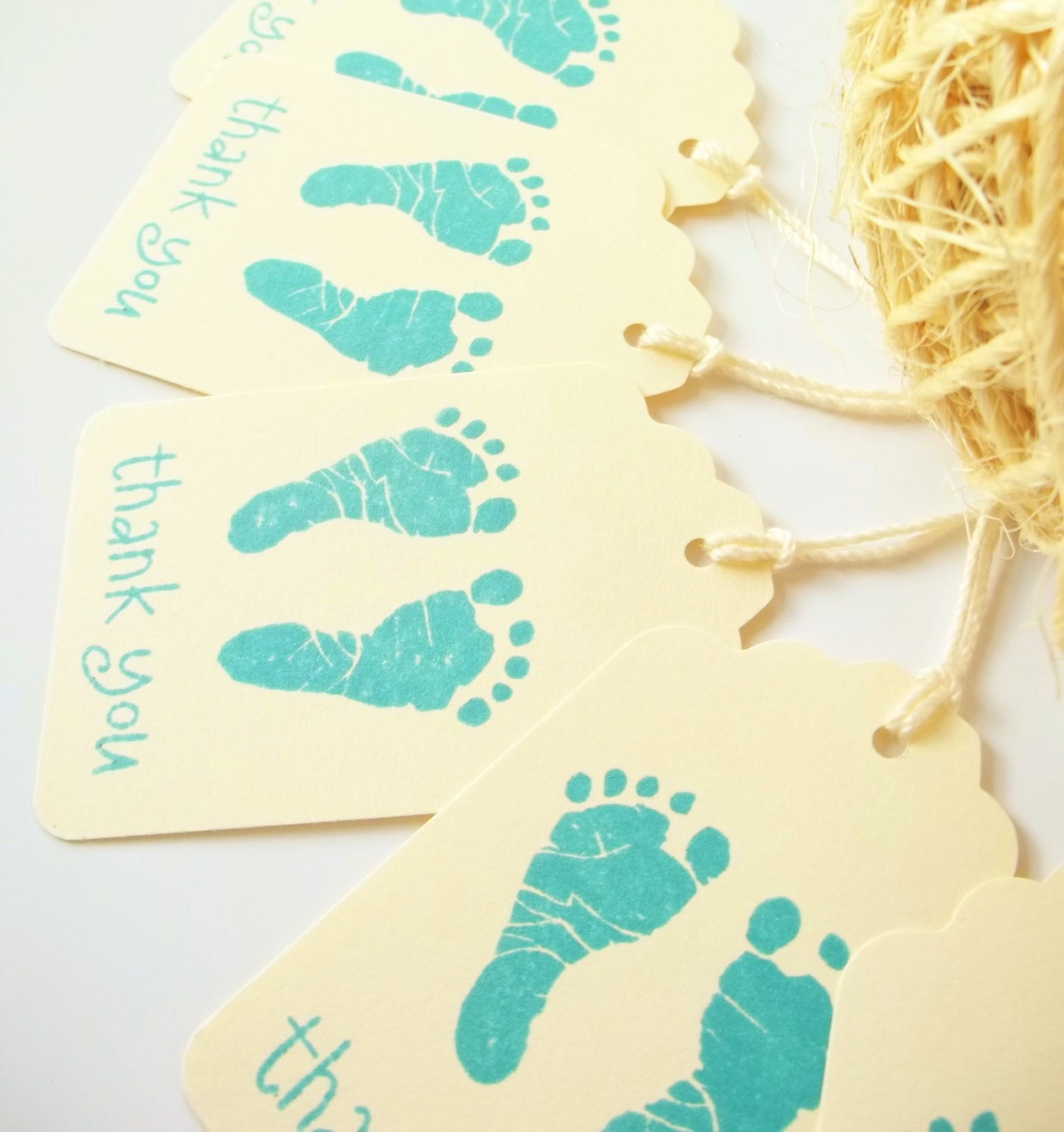 10 baby footprints gift tags baby shower favors by lillythings
