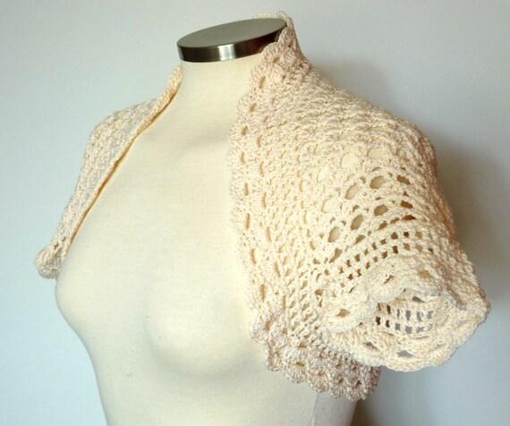 Lace bolero shrug in beige cream, short sleeve