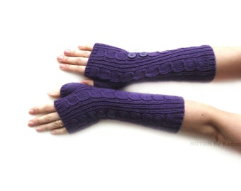 Long Purple Fingerless Knit Gloves with Buttons