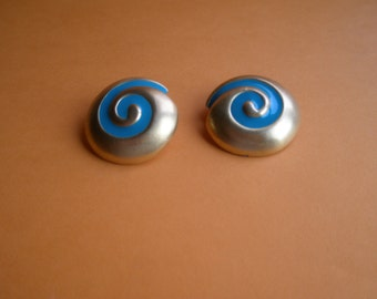 80's Large Gold tone clip earrings, signed 'Dubin NR' turquoise swirl design, original, chunky, xlarge, Dynasty style, Greece