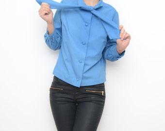 Vintage blue mad man bow tie women 60s jacket / XS S size