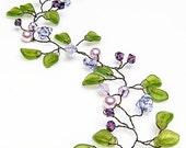 Green Purple Hair Vine, Bridal Hair Vine, Wedding Hair Accessories, Nature Inspired, Rustic Wedding, Winter Wedding