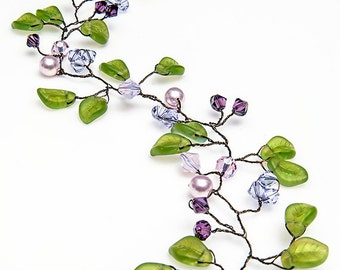 Green Purple Hair Vine, Bridal Hair Vine, Wedding Hair Accessories, Nature Inspired, Rustic Wedding,  HV114