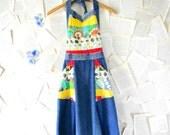 Vintage 70s Halter Wrap Around Patchwork Denim Maxi Dress Size Small