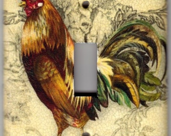 French Country Rooster / Chicken Switchplate Cover - Single Regular size (785)