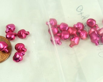 Pink Tiny Bells 25 pieces 6mm Pink Aluminum Ringing Pink bells Bell charms Jewelry craft supplies